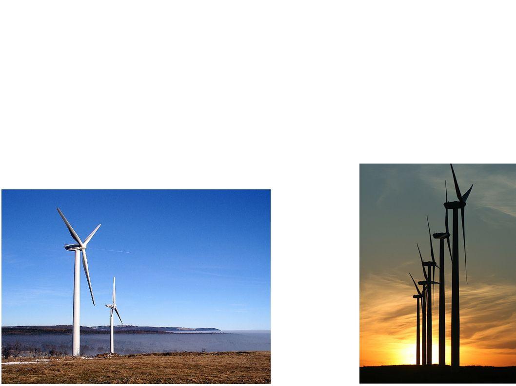 Větrné elektrárny vyrábějí elektrickou energii přeměnou z větrné (kinetické) energie. Elektrárna je obvykle tvořena vysokým sloupem, na jehož vrcholu