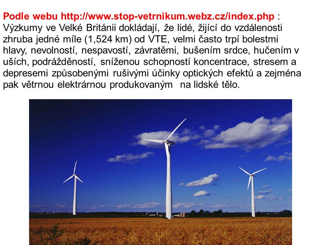Podle webu http://www.stop-vetrnikum.webz.cz/index.php : Výzkumy ve Velké Británii dokládají, že lidé, žijící do vzdálenosti zhruba jedné míle (1,524