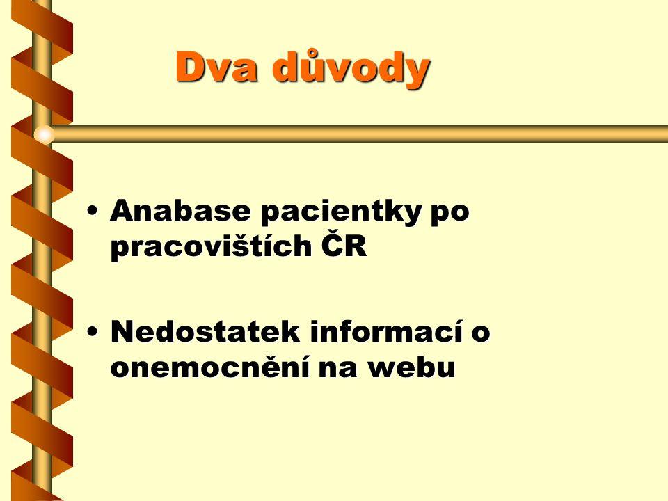 Dva důvody Anabase pacientky po pracovištích ČRAnabase pacientky po pracovištích ČR Nedostatek informací o onemocnění na webuNedostatek informací o on