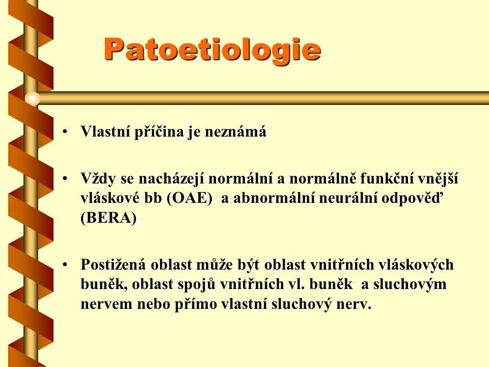 Patoetiologie Vlastní příčina je neznámáVlastní příčina je neznámá Vždy se nacházejí normální a normálně funkční vnější vláskové bb (OAE) a abnormální