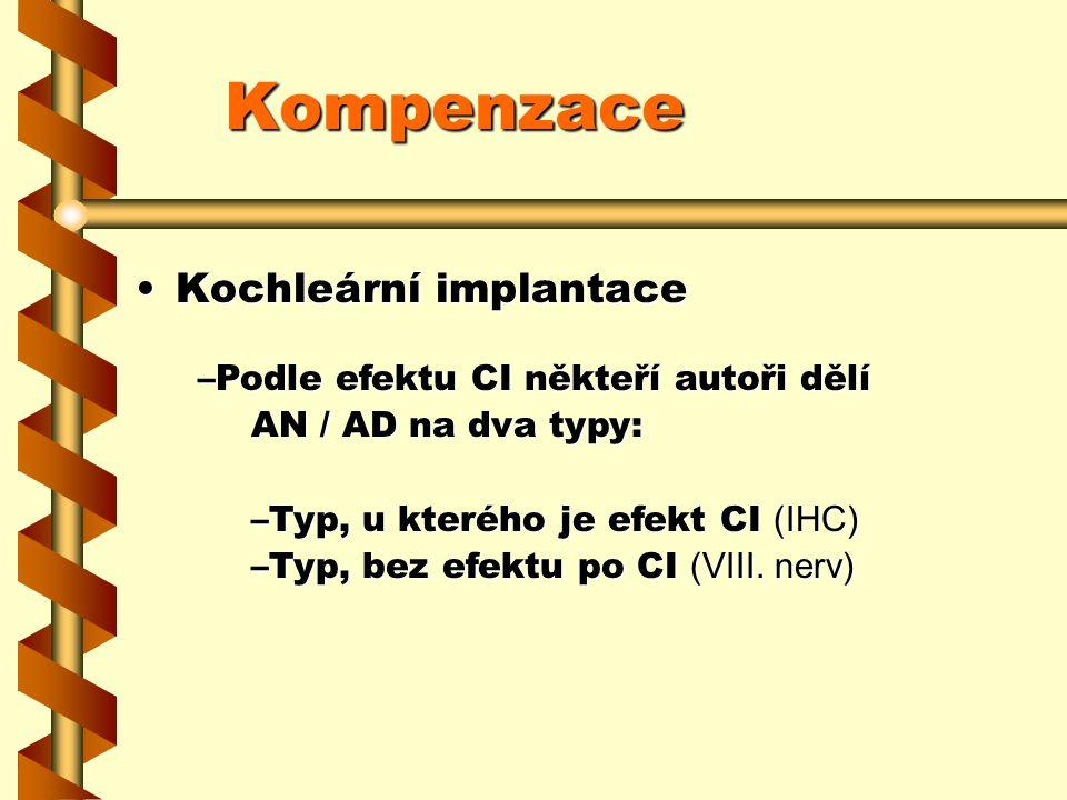 Kompenzace Kochleární implantaceKochleární implantace –Podle efektu CI někteří autoři dělí AN / AD na dva typy: –Typ, u kterého je efekt CI (IHC) –Typ