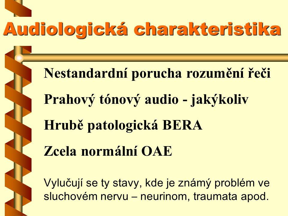 Audiologické testy Prahový tónový audiogram :Prahový tónový audiogram : Slovní audio v klidu:Slovní audio v klidu: Slovní audio při zátěži :Slovní audio při zátěži : OAEOAE BERA :BERA : nespecifický nespecifické vždy silně postiženo vždy normální vždy patologické