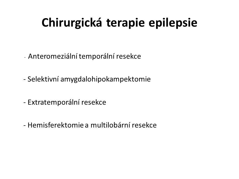 Chirurgická terapie epilepsie - Anteromeziální temporální resekce - Selektivní amygdalohipokampektomie - Extratemporální resekce - Hemisferektomie a multilobární resekce