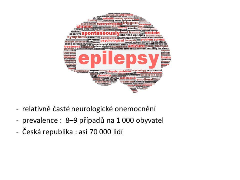- relativně časté neurologické onemocnění - prevalence : 8–9 případů na 1 000 obyvatel - Česká republika : asi 70 000 lidí