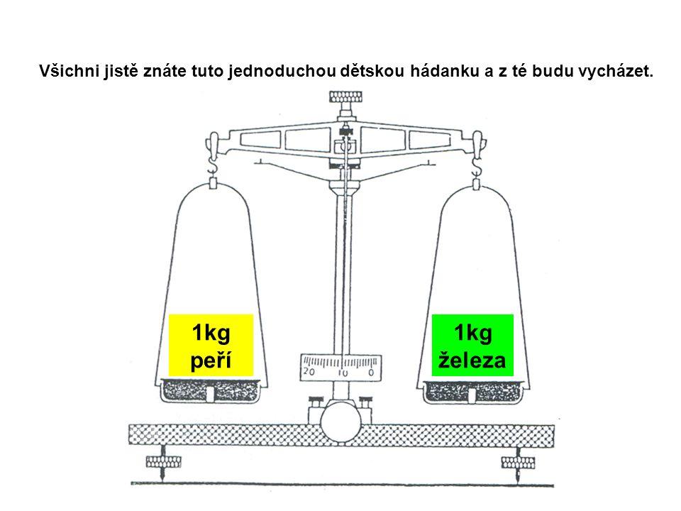 1kg peří 1kg železa Všichni jistě znáte tuto jednoduchou dětskou hádanku a z té budu vycházet.