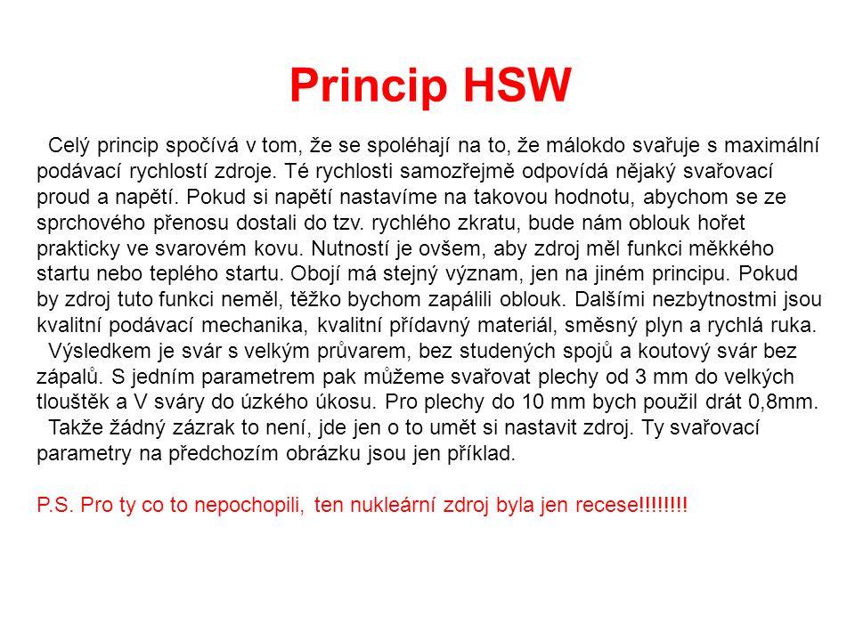 Princip HSW Celý princip spočívá v tom, že se spoléhají na to, že málokdo svařuje s maximální podávací rychlostí zdroje.
