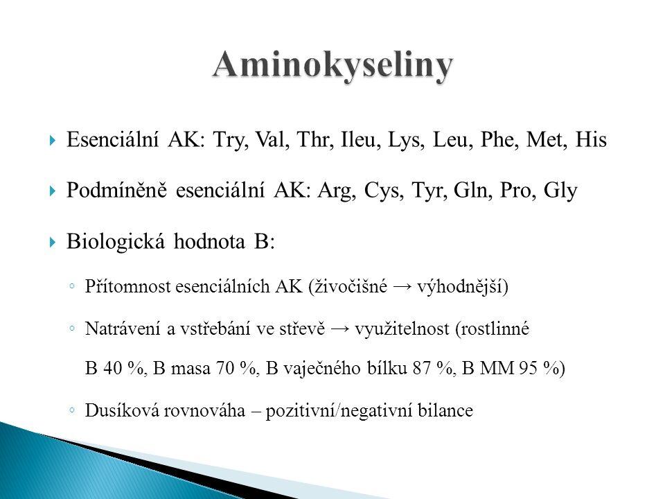  Esenciální AK: Try, Val, Thr, Ileu, Lys, Leu, Phe, Met, His  Podmíněně esenciální AK: Arg, Cys, Tyr, Gln, Pro, Gly  Biologická hodnota B: ◦ Přítomnost esenciálních AK (živočišné → výhodnější) ◦ Natrávení a vstřebání ve střevě → využitelnost (rostlinné B 40 %, B masa 70 %, B vaječného bílku 87 %, B MM 95 %) ◦ Dusíková rovnováha – pozitivní/negativní bilance