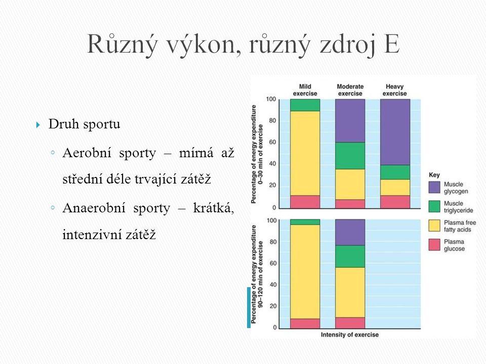  Druh sportu ◦ Aerobní sporty – mírná až střední déle trvající zátěž ◦ Anaerobní sporty – krátká, intenzivní zátěž