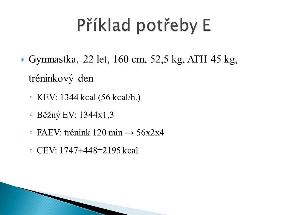  Gymnastka, 22 let, 160 cm, 52,5 kg, ATH 45 kg, tréninkový den ◦ KEV: 1344 kcal (56 kcal/h.) ◦ Běžný EV: 1344x1,3 ◦ FAEV: trénink 120 min → 56x2x4 ◦ CEV: 1747+448=2195 kcal