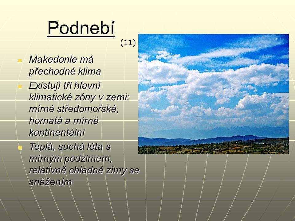 Podnebí Makedonie má přechodné klima Makedonie má přechodné klima Existují tři hlavní klimatické zóny v zemi: mírné středomořské, hornatá a mírně kontinentální Existují tři hlavní klimatické zóny v zemi: mírné středomořské, hornatá a mírně kontinentální Teplá, suchá léta s mírným podzimem, relativně chladné zimy se sněžením Teplá, suchá léta s mírným podzimem, relativně chladné zimy se sněžením (11)
