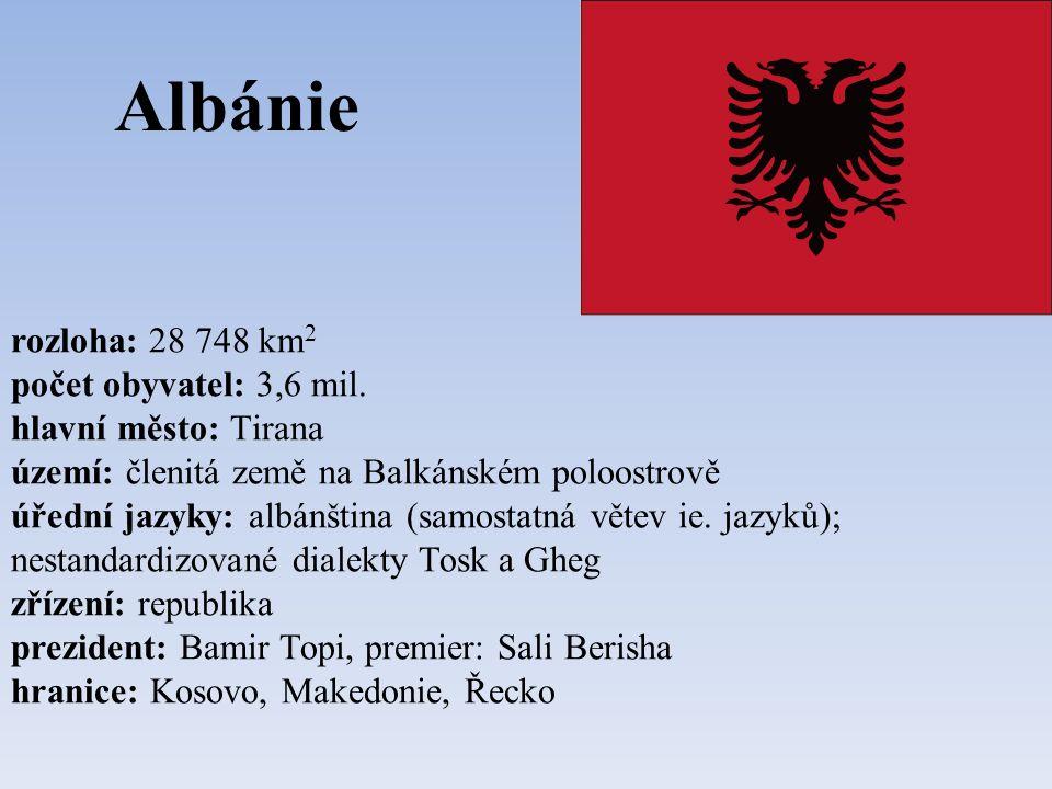 Albánie rozloha: 28 748 km 2 počet obyvatel: 3,6 mil.