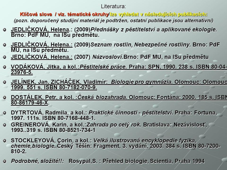 Literatura: Klíčová slova / viz.tématické okruhy/lze vyhledat v následujících publikacích: (pozn.