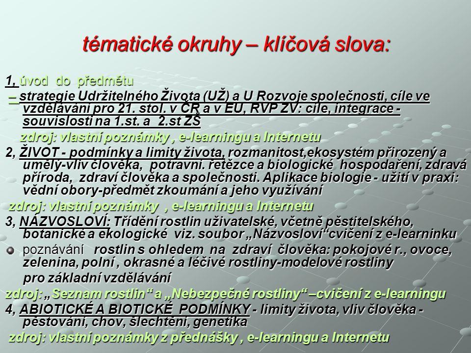 - cíle studia: Pochopení základních podmínek a principů existence Pochopení základních podmínek a principů existence zdravého života zdravého života - na planetě Zemi - na planetě Zemi - v České republice - jako součásti EU - v České republice - jako součásti EU ( podmínky, projevy a limity života, biologické zákonitosti a vliv člověka, využívání přírody člověkem a biologické hospodaření) tak, vliv člověka, využívání přírody člověkem a biologické hospodaření) tak, aby absolventi předmětu (budoucí učitelé) aby absolventi předmětu (budoucí učitelé) nejen chápali obsah, ale byli schopni na příkladech vysvětlit tyto principy žákům !
