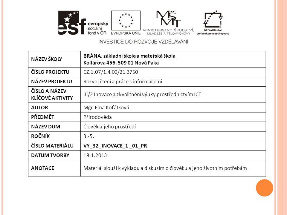 NÁZEV ŠKOLY BRÁNA, základní škola a mateřská škola Kollárova 456, 509 01 Nová Paka ČÍSLO PROJEKTUCZ.1.07/1.4.00/21.3750 NÁZEV PROJEKTURozvoj čtení a práce s informacemi ČÍSLO A NÁZEV KLÍČOVÉ AKTIVITY III/2 Inovace a zkvalitnění výuky prostřednictvím ICT AUTORMgr.