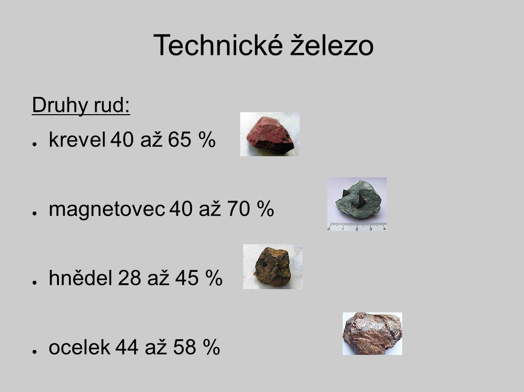 Technické železo Druhy rud: ● krevel 40 až 65 % ● magnetovec 40 až 70 % ● hnědel 28 až 45 % ● ocelek 44 až 58 %