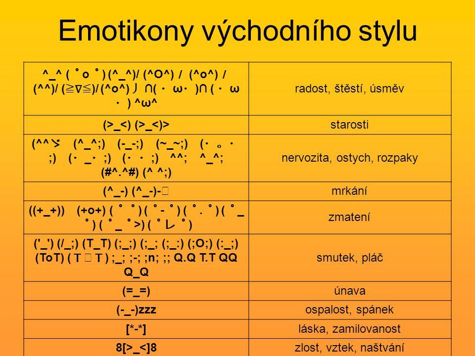 Emotikony východního stylu ^_^ ( ゜ o ゜ ) (^_^)/ (^O^) / (^o^) / (^^)/ ( ≧∇≦ )/ (^o^) 丿 ∩( ・ ω ・ )∩ ( ・ ω ・ ) ^ω^ radost, štěstí, úsměv (>_ _ starosti (^^ ゞ (^_^;) (-_-;) (~_~;) ( ・。・ ;) ( ・ _ ・ ;) ( ・・ ;) ^^; ^_^; (#^.^#) (^ ^;) nervozita, ostych, rozpaky (^_-) (^_-)- ☆ mrkání ((+_+)) (+o+) ( ゜゜ ) ( ゜ - ゜ ) ( ゜.