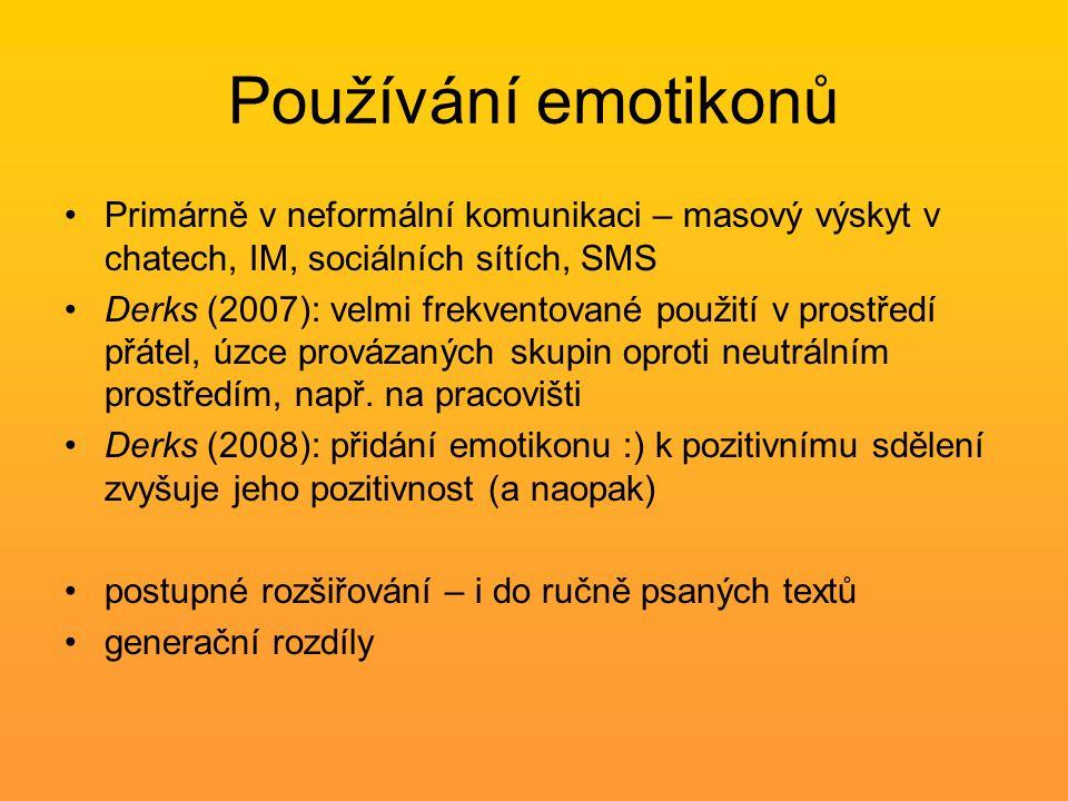 Používání emotikonů Primárně v neformální komunikaci – masový výskyt v chatech, IM, sociálních sítích, SMS Derks (2007): velmi frekventované použití v prostředí přátel, úzce provázaných skupin oproti neutrálním prostředím, např.