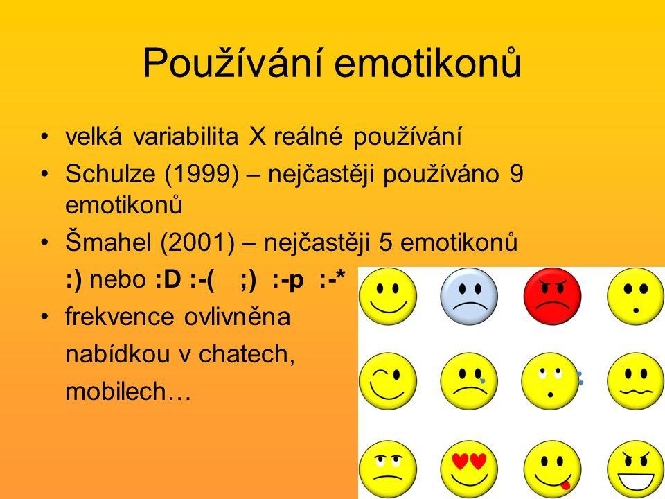 Používání emotikonů velká variabilita X reálné používání Schulze (1999) – nejčastěji používáno 9 emotikonů Šmahel (2001) – nejčastěji 5 emotikonů :) nebo :D :-( ;) :-p :-* frekvence ovlivněna nabídkou v chatech, mobilech…