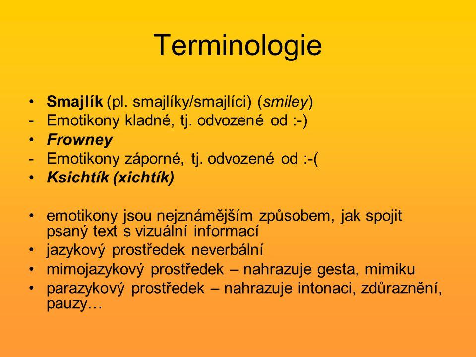 Terminologie Smajlík (pl. smajlíky/smajlíci) (smiley) -Emotikony kladné, tj. odvozené od :-) Frowney -Emotikony záporné, tj. odvozené od :-( Ksichtík
