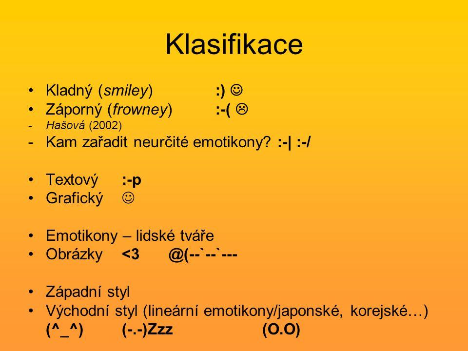 Klasifikace Kladný (smiley) :) Záporný (frowney) :-(  -Hašová (2002) -Kam zařadit neurčité emotikony? :-| :-/ Textový :-p Grafický Emotikony – lidské