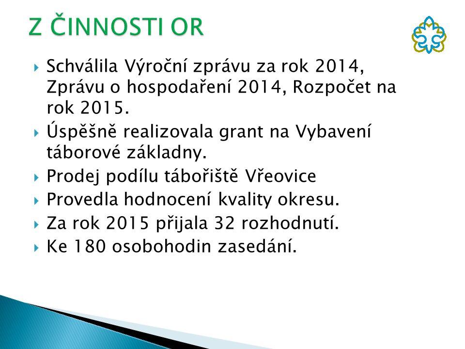  Schválila Výroční zprávu za rok 2014, Zprávu o hospodaření 2014, Rozpočet na rok 2015.  Úspěšně realizovala grant na Vybavení táborové základny. 