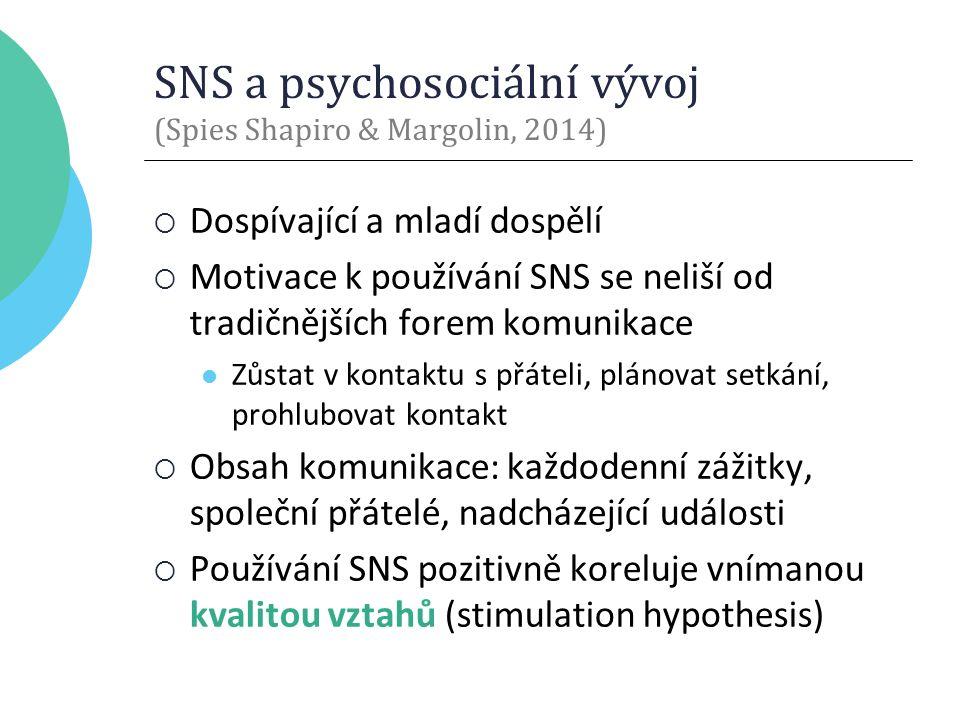 SNS a psychosociální vývoj (Spies Shapiro & Margolin, 2014)  Dospívající a mladí dospělí  Motivace k používání SNS se neliší od tradičnějších forem komunikace Zůstat v kontaktu s přáteli, plánovat setkání, prohlubovat kontakt  Obsah komunikace: každodenní zážitky, společní přátelé, nadcházející události  Používání SNS pozitivně koreluje vnímanou kvalitou vztahů (stimulation hypothesis)