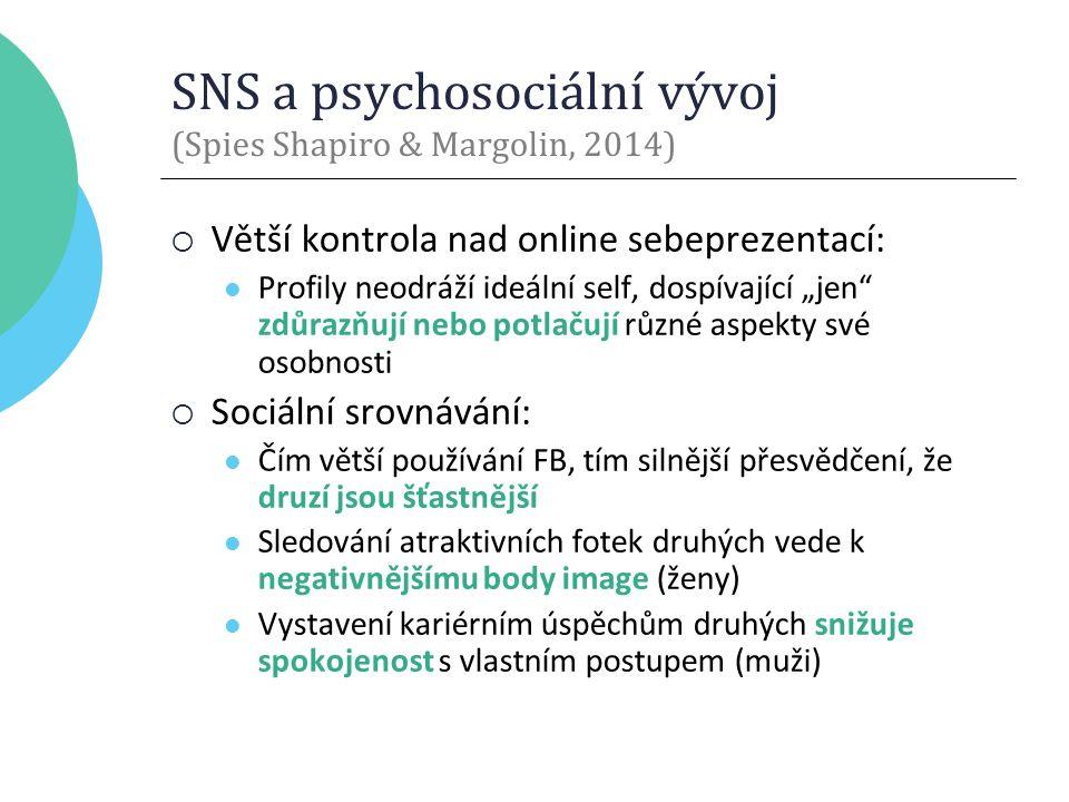 """SNS a psychosociální vývoj (Spies Shapiro & Margolin, 2014)  Větší kontrola nad online sebeprezentací: Profily neodráží ideální self, dospívající """"jen zdůrazňují nebo potlačují různé aspekty své osobnosti  Sociální srovnávání: Čím větší používání FB, tím silnější přesvědčení, že druzí jsou šťastnější Sledování atraktivních fotek druhých vede k negativnějšímu body image (ženy) Vystavení kariérním úspěchům druhých snižuje spokojenost s vlastním postupem (muži)"""