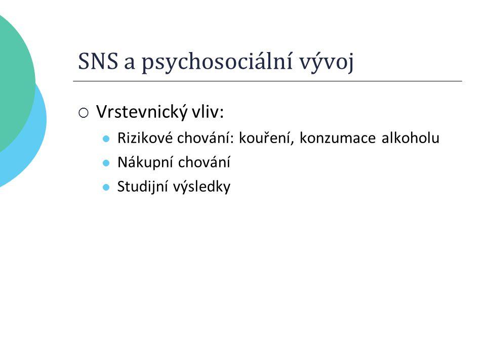 SNS a psychosociální vývoj  Vrstevnický vliv: Rizikové chování: kouření, konzumace alkoholu Nákupní chování Studijní výsledky