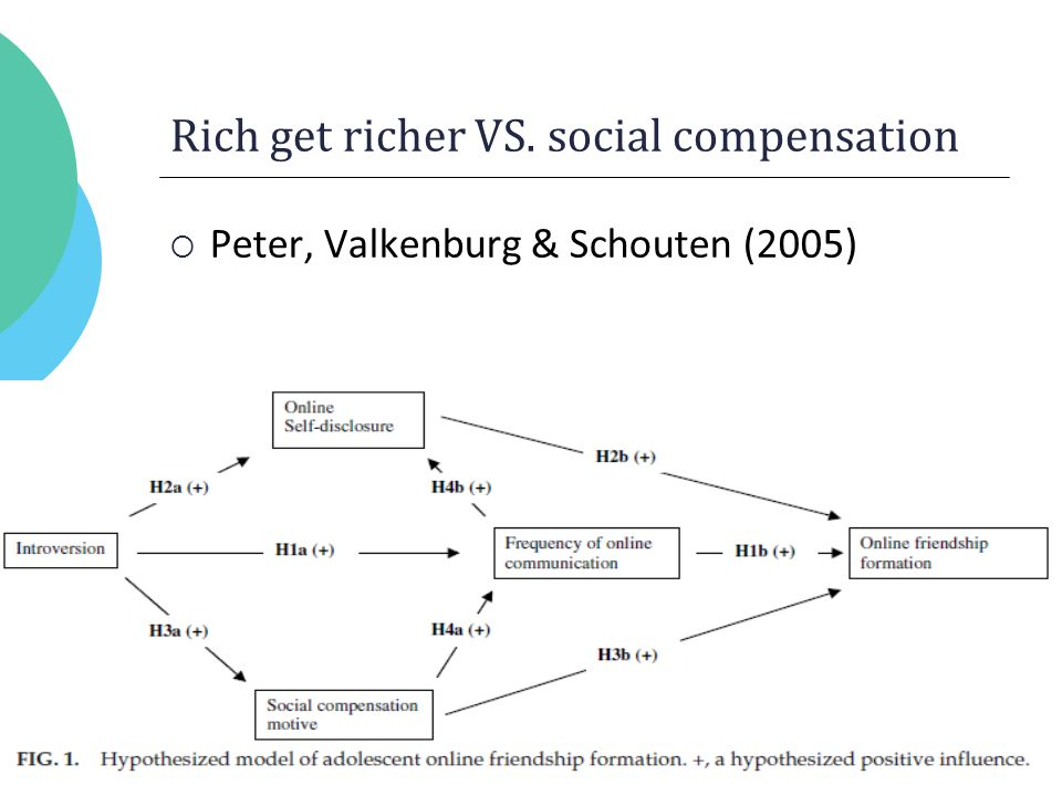 Rich get richer VS. social compensation  Peter, Valkenburg & Schouten (2005)
