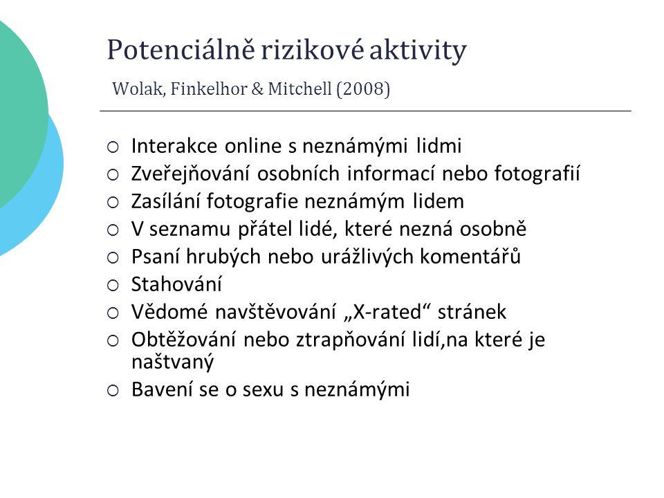 """Potenciálně rizikové aktivity Wolak, Finkelhor & Mitchell (2008)  Interakce online s neznámými lidmi  Zveřejňování osobních informací nebo fotografií  Zasílání fotografie neznámým lidem  V seznamu přátel lidé, které nezná osobně  Psaní hrubých nebo urážlivých komentářů  Stahování  Vědomé navštěvování """"X-rated stránek  Obtěžování nebo ztrapňování lidí,na které je naštvaný  Bavení se o sexu s neznámými"""