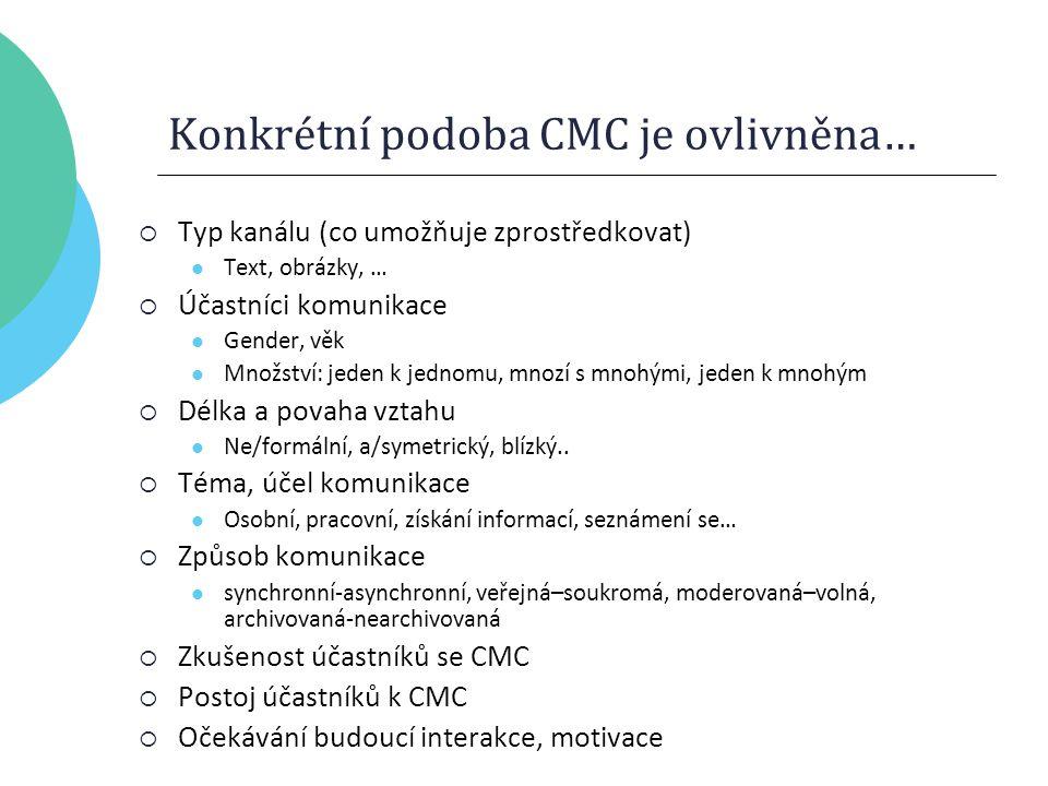 Konkrétní podoba CMC je ovlivněna…  Typ kanálu (co umožňuje zprostředkovat) Text, obrázky, …  Účastníci komunikace Gender, věk Množství: jeden k jednomu, mnozí s mnohými, jeden k mnohým  Délka a povaha vztahu Ne/formální, a/symetrický, blízký..