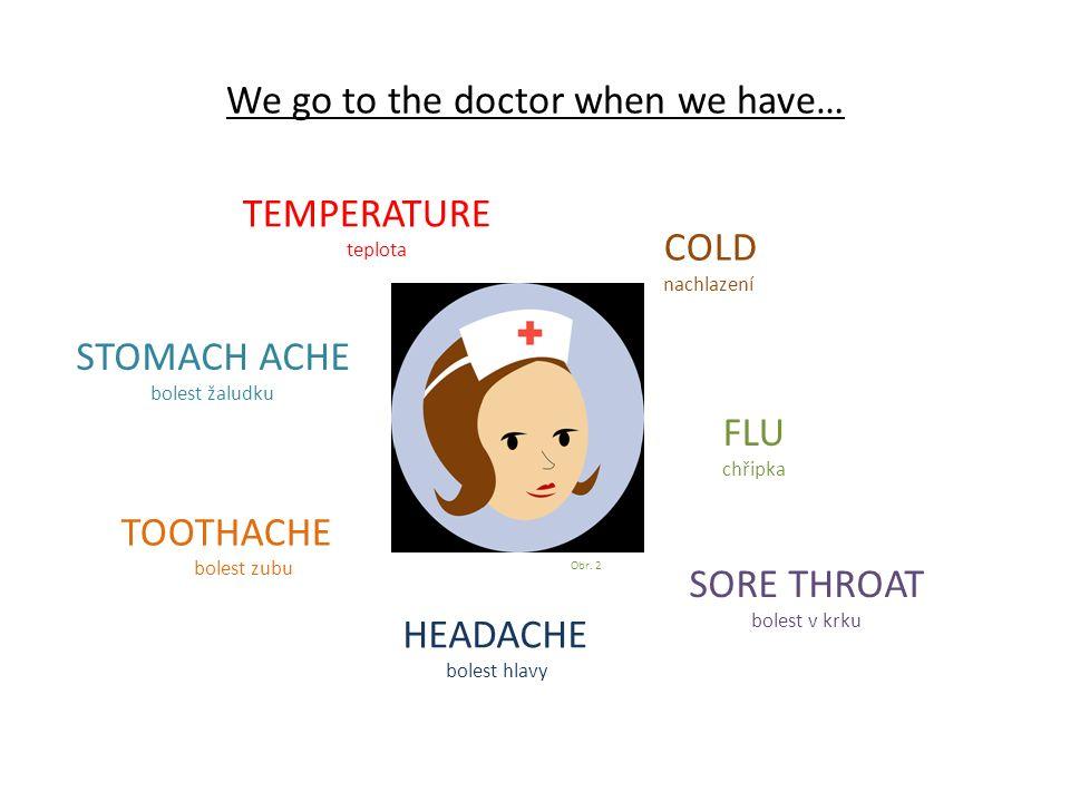We go to the doctor when we have… FLU chřipka TEMPERATURE teplota TOOTHACHE bolest zubu SORE THROAT bolest v krku HEADACHE bolest hlavy COLD nachlazení STOMACH ACHE bolest žaludku Obr.