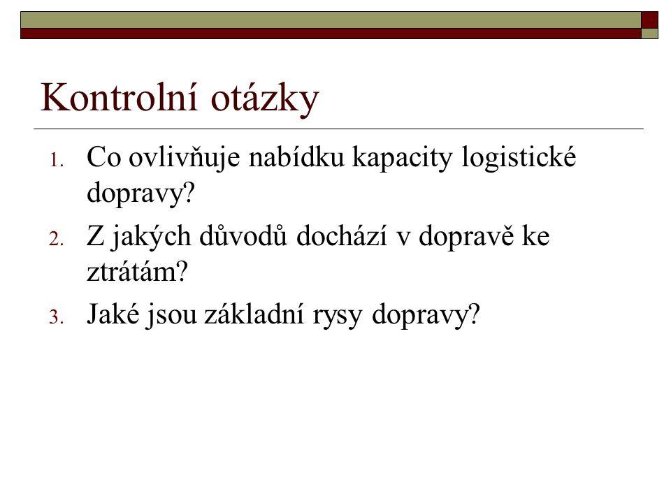 Kontrolní otázky 1. Co ovlivňuje nabídku kapacity logistické dopravy.