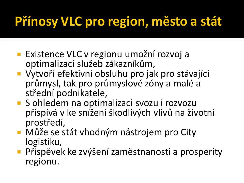  Existence VLC v regionu umožní rozvoj a optimalizaci služeb zákazníkům,  Vytvoří efektivní obsluhu pro jak pro stávající průmysl, tak pro průmyslové zóny a malé a střední podnikatele,  S ohledem na optimalizaci svozu i rozvozu přispívá v ke snížení škodlivých vlivů na životní prostředí,  Může se stát vhodným nástrojem pro City logistiku,  Příspěvek ke zvýšení zaměstnanosti a prosperity regionu.