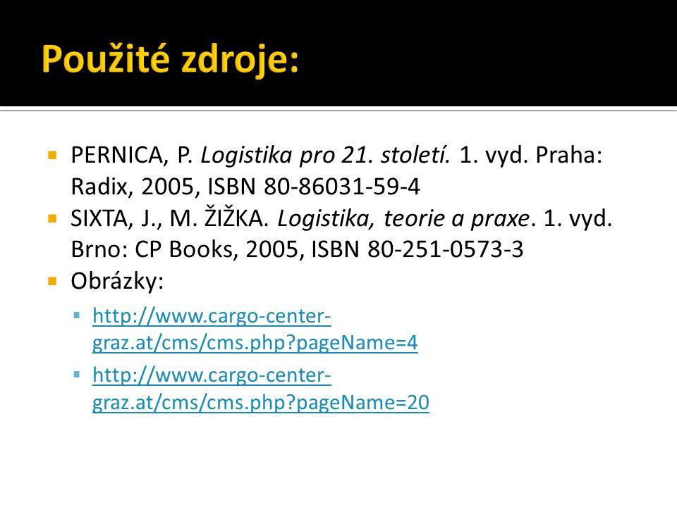  PERNICA, P. Logistika pro 21. století. 1. vyd. Praha: Radix, 2005, ISBN 80-86031-59-4  SIXTA, J., M. ŽIŽKA. Logistika, teorie a praxe. 1. vyd. Brno