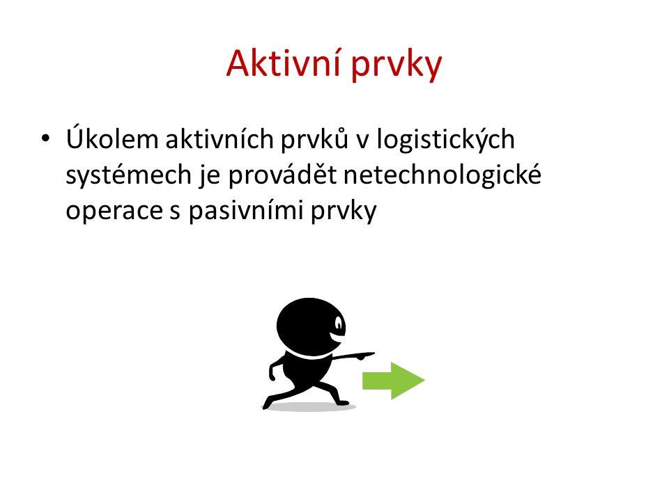 Aktivní prvky Úkolem aktivních prvků v logistických systémech je provádět netechnologické operace s pasivními prvky
