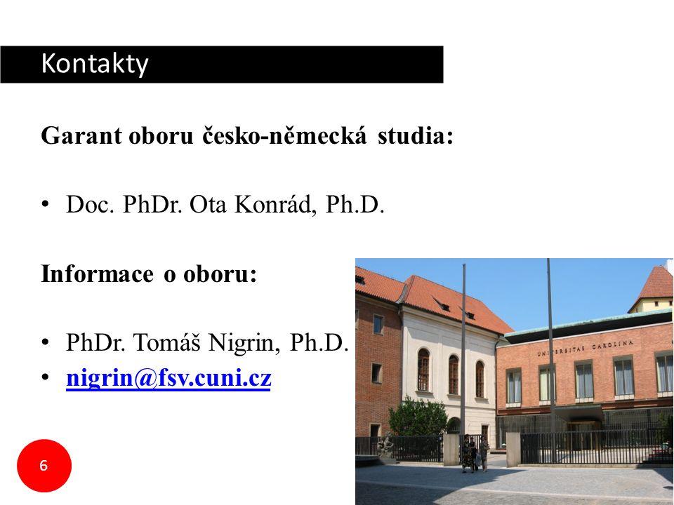 Kontakty Garant oboru česko-německá studia: Doc. PhDr.