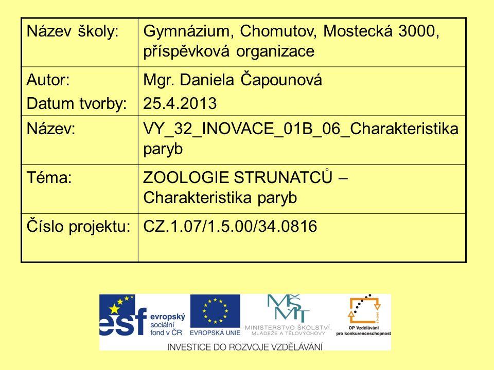 Název školy:Gymnázium, Chomutov, Mostecká 3000, příspěvková organizace Autor: Datum tvorby: Mgr. Daniela Čapounová 25.4.2013 Název:VY_32_INOVACE_01B_0