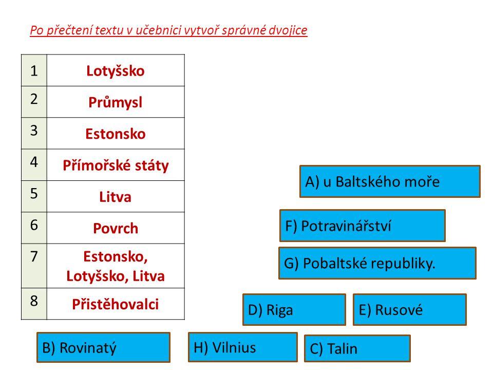 Po přečtení textu v učebnici vytvoř správné dvojice 1Lotyšsko 2 Průmysl 3 Estonsko 4 Přímořské státy 5 Litva 6 Povrch 7 Estonsko, Lotyšsko, Litva 8 Přistěhovalci B) Rovinatý F) Potravinářství H) Vilnius C) Talin D) RigaE) Rusové A) u Baltského moře G) Pobaltské republiky.