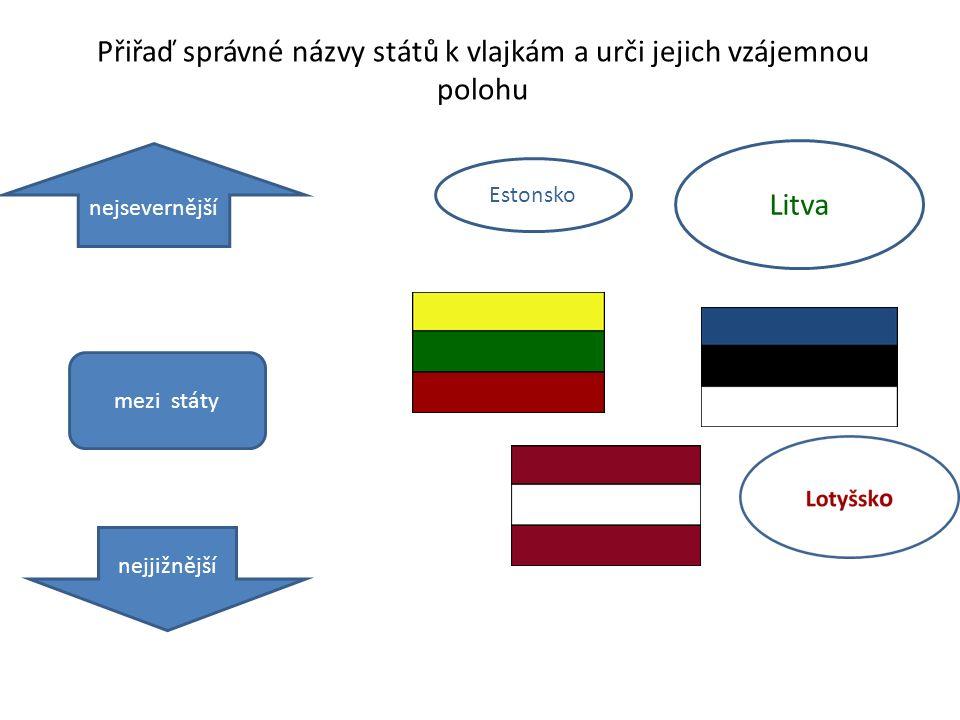 Přiřaď správné názvy států k vlajkám a urči jejich vzájemnou polohu Estonsko Litva nejsevernější nejjižnější mezi státy