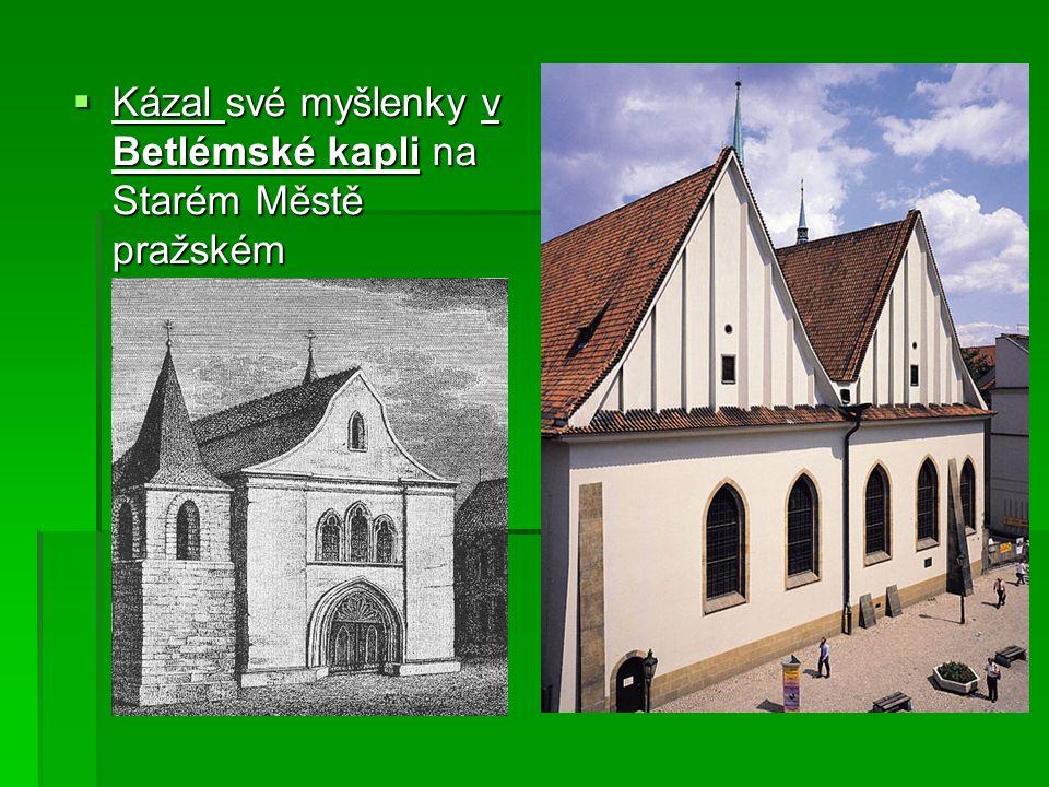 Kázání Jana Husa v kapli Betlémské (A. Mucha)