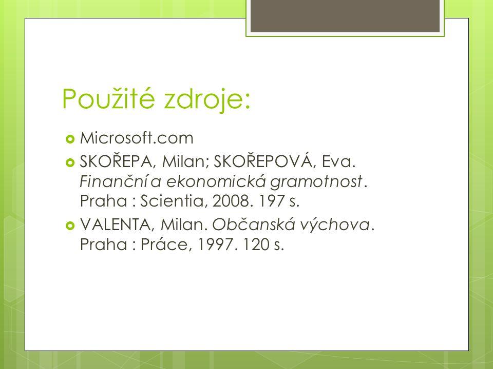 Použité zdroje:  Microsoft.com  SKOŘEPA, Milan; SKOŘEPOVÁ, Eva.