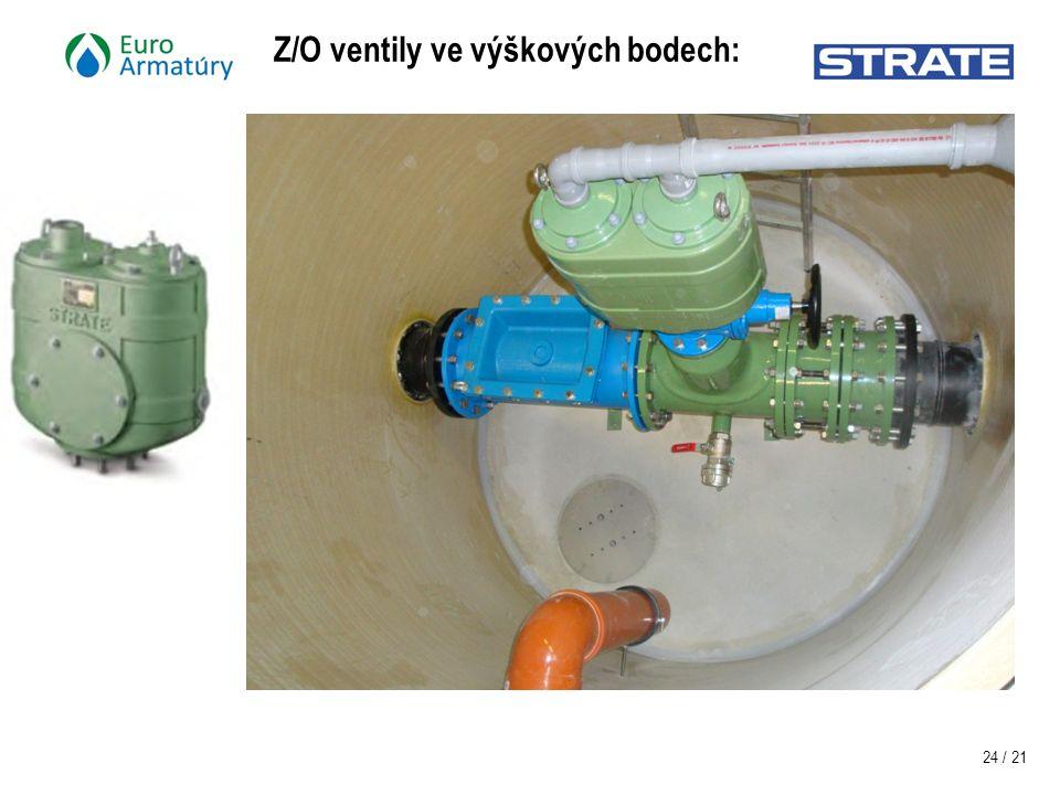 24 / 21 Z/O ventily ve výškových bodech: