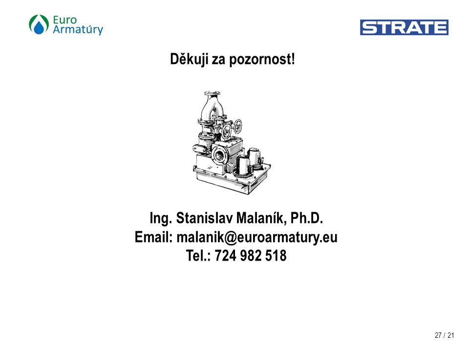 27 / 21 Ing. Stanislav Malaník, Ph.D.