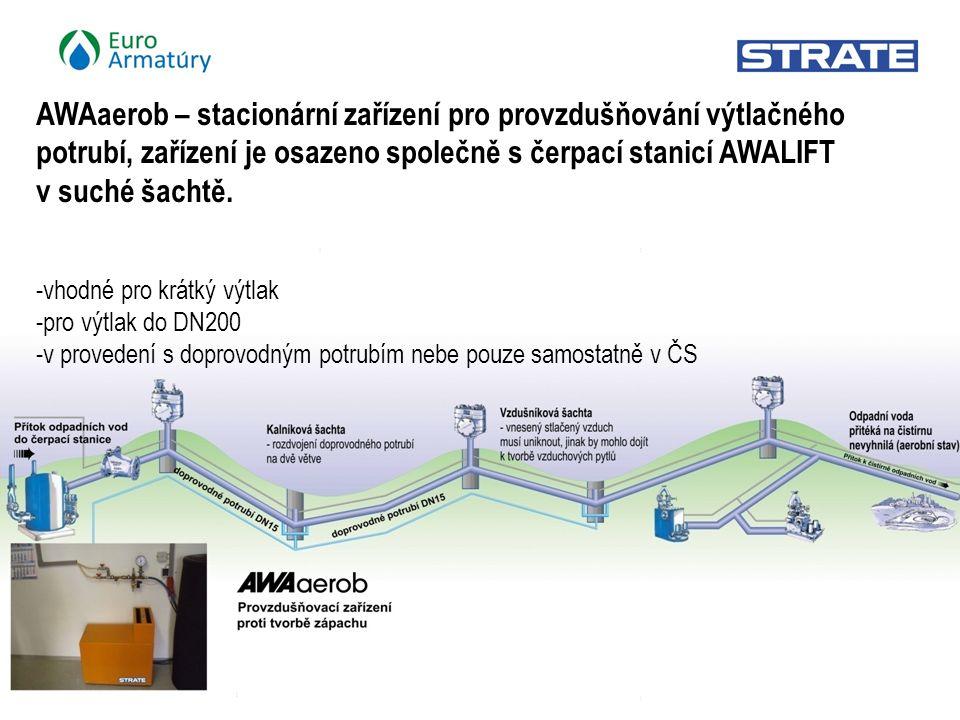 6 / 21 AWAaerob – stacionární zařízení pro provzdušňování výtlačného potrubí, zařízení je osazeno společně s čerpací stanicí AWALIFT v suché šachtě.