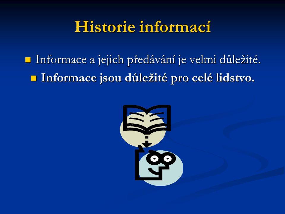 Historie informací Informace a jejich předávání je velmi důležité.