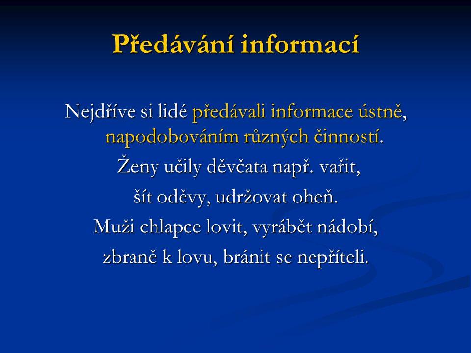Předávání informací Nejdříve si lidé předávali informace ústně, napodobováním různých činností.
