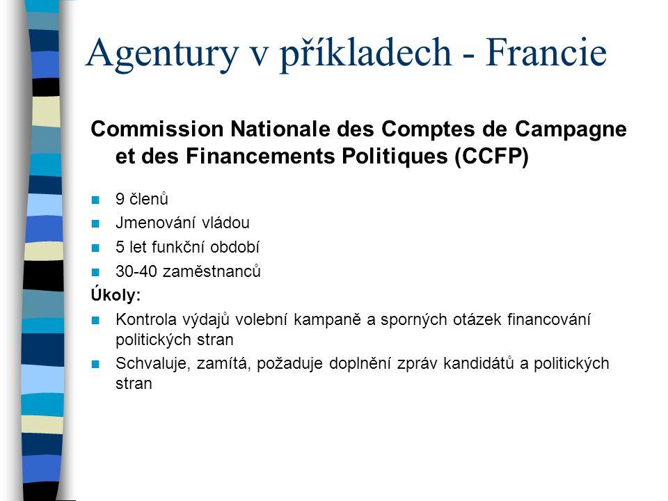 Agentury v příkladech - Francie Commission Nationale des Comptes de Campagne et des Financements Politiques (CCFP) 9 členů Jmenování vládou 5 let funkční období 30-40 zaměstnanců Úkoly: Kontrola výdajů volební kampaně a sporných otázek financování politických stran Schvaluje, zamítá, požaduje doplnění zpráv kandidátů a politických stran