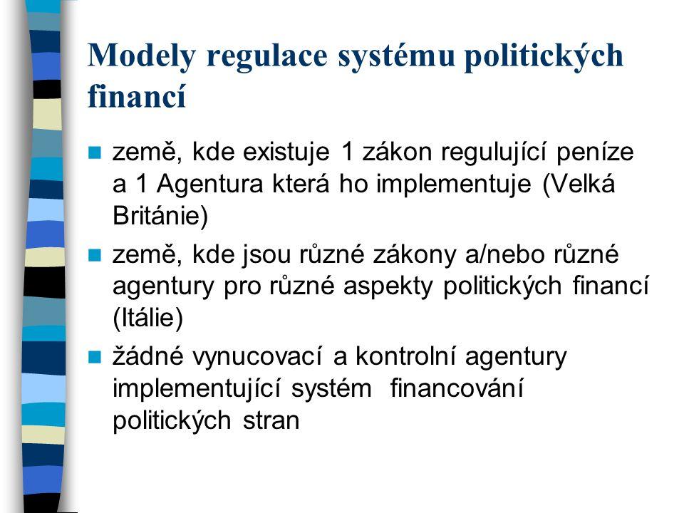 Modely regulace systému politických financí země, kde existuje 1 zákon regulující peníze a 1 Agentura která ho implementuje (Velká Británie) země, kde jsou různé zákony a/nebo různé agentury pro různé aspekty politických financí (Itálie) žádné vynucovací a kontrolní agentury implementující systém financování politických stran