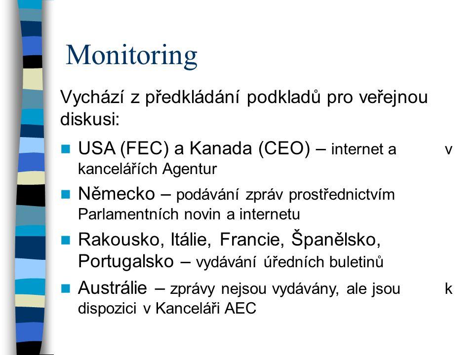 Monitoring Vychází z předkládání podkladů pro veřejnou diskusi: USA (FEC) a Kanada (CEO) – internet a v kancelářích Agentur Německo – podávání zpráv prostřednictvím Parlamentních novin a internetu Rakousko, Itálie, Francie, Španělsko, Portugalsko – vydávání úředních buletinů Austrálie – zprávy nejsou vydávány, ale jsou k dispozici v Kanceláři AEC